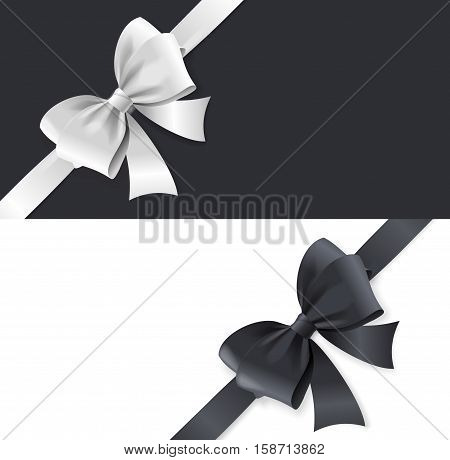 Luxury Satin Bows and Ribbons Horizontal Card. Black and White Tape. Vector illustration
