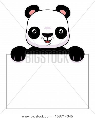 Cute cartoon panda holds clean banner. Vector illustration.