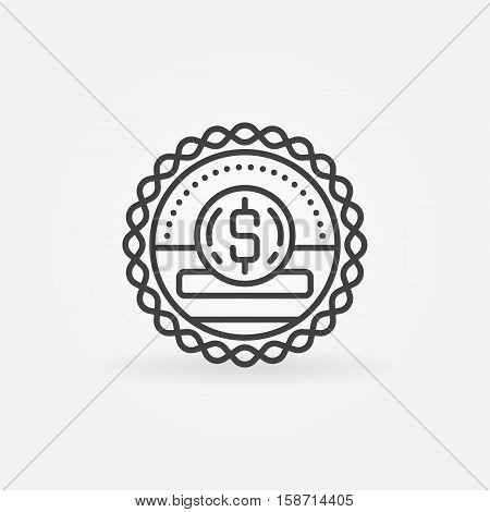 Donation and fundraising badge. Vector minimal donation and charity concept symbol or emblem in thin line style