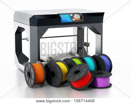 3D printer filaments beside printer isolated on white background. 3D illustration.
