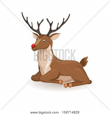 Reindeer lie and relax Christmas vector illustration. Lae deer with red nose. Cartoon full face reindeer lie. Xmas holiday icons