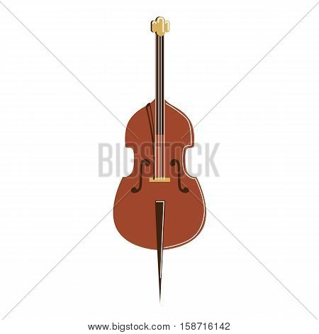 Isolated cello on white background. Musical instrument. Element of orchestra.