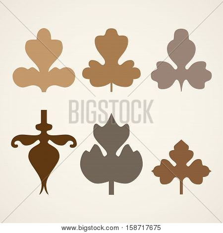 Decorative brown leaves pattern set isolated on white vector. Various shapes of brown leaves. Elements for eco and bio logo