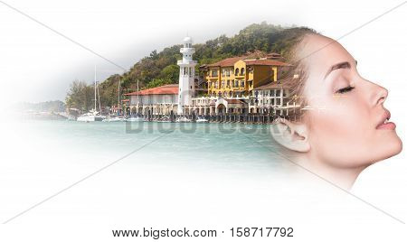 Double exposure of beautiful young woman with resort harbor over white background