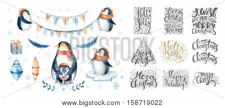 Merry christmas lettering over with snowflakes and penguins. Hand drawn text calligraphy for your design. xmas penguin design overlay elements isolated on white