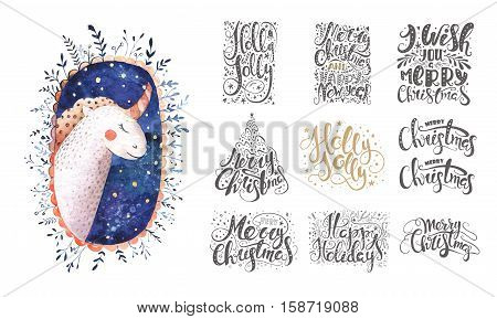 Merry christmas lettering over with snowflakes and unicorn. Hand drawn text calligraphy for your design. xmas unicorn design overlay elements isolated on white background.
