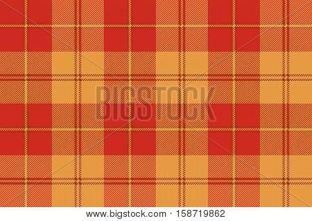 Orange plaid tartan fabric texture seamless pattern. Vector illustration. Flat design. No gradient. No transparent. EPS 10.