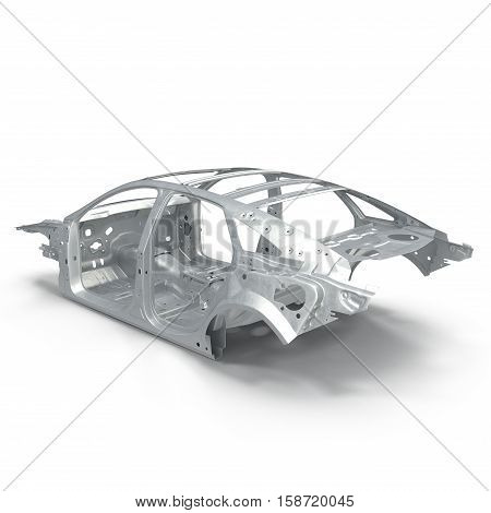 Carcass af a sedan car on white background. 3D illustration
