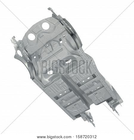 Bottom view Skeleton of a car on white background. 3D illustration
