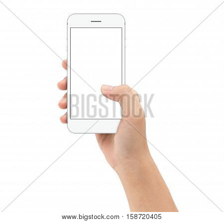 hand holding smart phone on white background clipphing path inside mock-up phone white screen