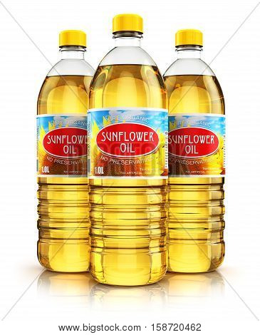 3D render illustration of the group of three plastic bottles with yellow refined vegetable sunflower cooking oil or organic fat isolated on white background with reflection effect