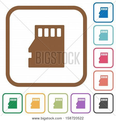 Micro SD memory card simple icons in color rounded square frames on white background