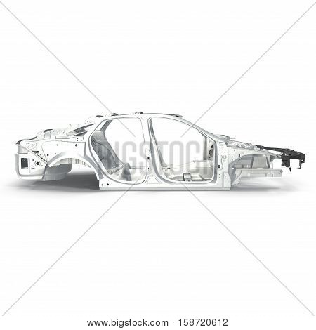Side view Car Frame without Chassis on white background. 3D illustration