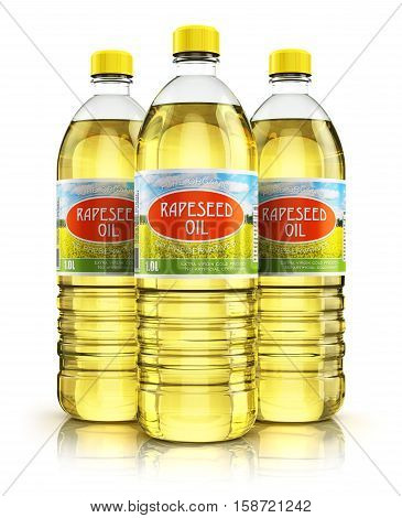 3D render illustration of the group of three plastic bottles with yellow refined vegetable rape or rapeseed cooking oil or organic fat isolated on white background with reflection effect