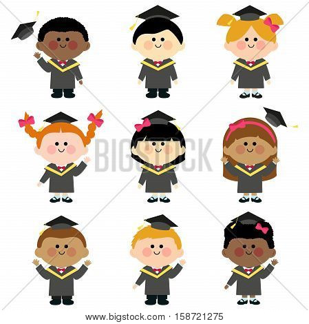 Group of graduation kids with graduation gowns and hats.