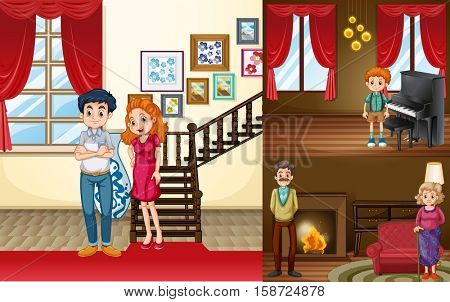 Family members in different rooms of the house illustration