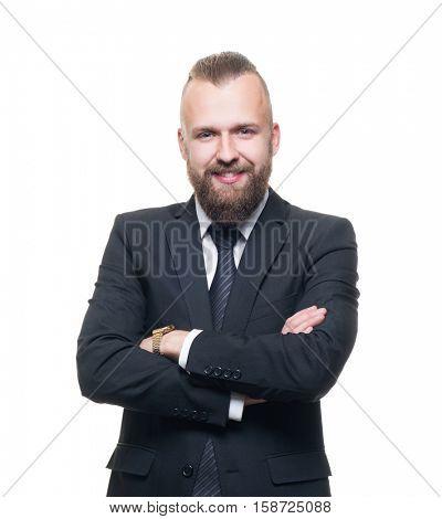 Portrait of confident businessman with a beard. Business concept.