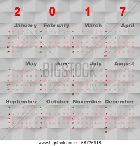 Business vector template of 2017 calendar on grey square background stock vector