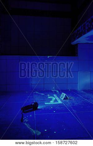 Bathroom as a place of criminal case under UV light