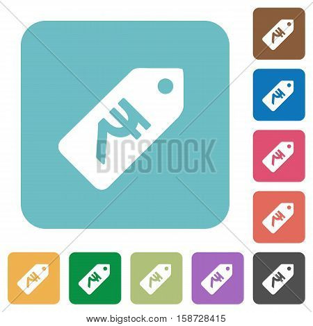 Indian Rupee price label flat icons on simple color square background.