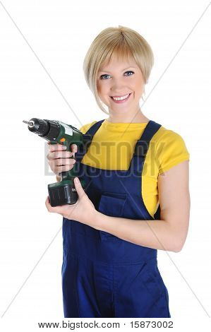 Beautiful girl with a drill