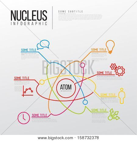 Vector Infographic report template made from lines and icons - atom with atomic nucleus