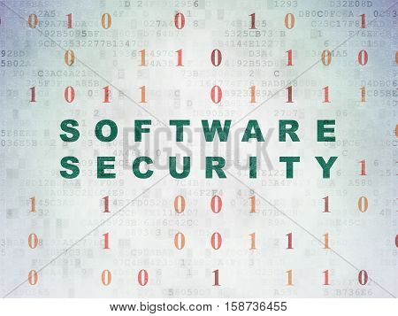 Privacy concept: Painted green text Software Security on Digital Data Paper background with Binary Code