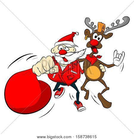 Santa claus, reindeer isolated. Vector cartoon illustration. Comics style. Colored crazy, rock, drunk, funny, punk character with gift