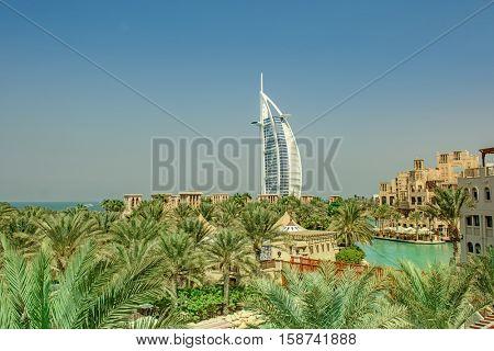 DUBAI, UAE - OCTOBER 14, 2016: The iconic Burj al Arab hotel in Dubai. Built on a man made island, The Burj al Arab is the only 7 star hotel in the world