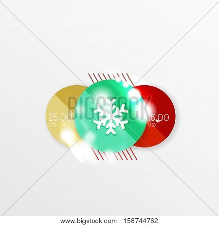 Christmas and New Year sale sticker templates, vector illustration