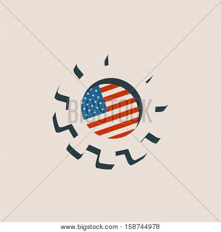 3D cog wheel with USA flag. Precision machinery relative backdrop