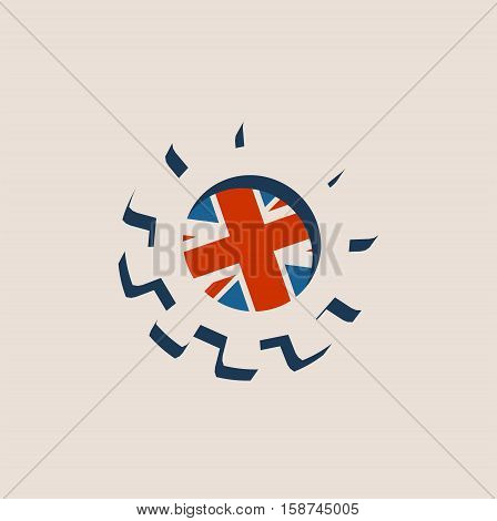 3D cog wheel with Britain flag. Precision machinery relative backdrop