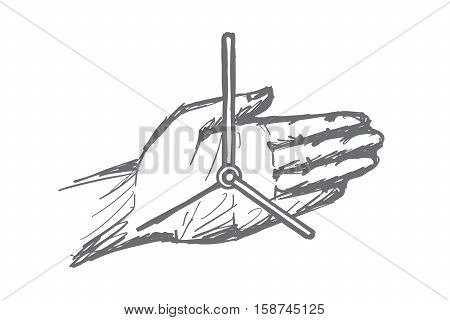 Vector hand drawn hand clock concept sketch. Second and minute hands of hand clock on male human palm