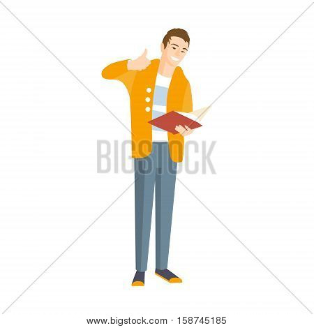 Guy In Yellow Cardigan Showing Thumbs Up Part Of The Collection Of Young Professional People Office Style And Street Fashion Looks. Smiling Confident Person In Trendy Modern Clothing Flat Vector Illustration.