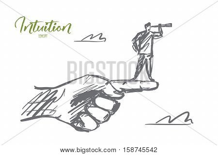 Vector hand drawn intuition concept sketch. Man standing on edge of huge human finger and looking throuth spyglass. Lettering Intuition concept