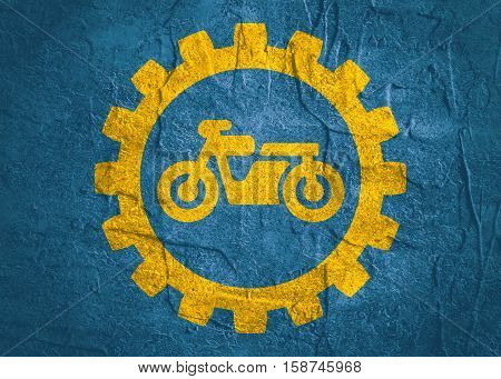 Motorcycle icon in gear. Minimalistic sign on concrete textured background. Trendy Flat style for graphic design
