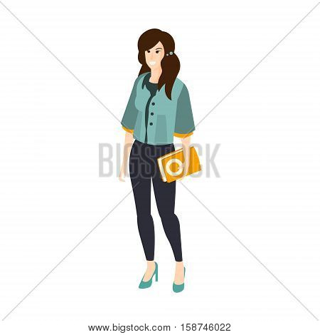 Girl In Turquoise Top And Leggins With Orange Folder Part Of The Collection Of Young Professional People Office Style And Street Fashion Looks. Smiling Confident Person In Trendy Modern Clothing Flat Vector Illustration.