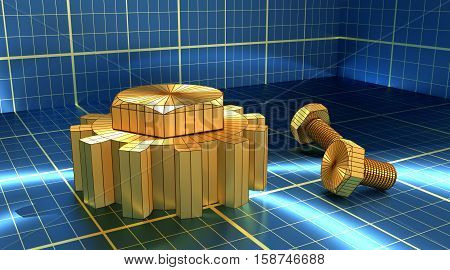 Industry theme relative abstract background concept. Blue print backdrop. Wire frame gear and bolts. Golden material. 3D rendering