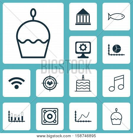 Set Of 12 Universal Editable Icons. Can Be Used For Web, Mobile And App Design. Includes Icons Such As Fishing, Segmented Bar Graph, Circle Graph And More.