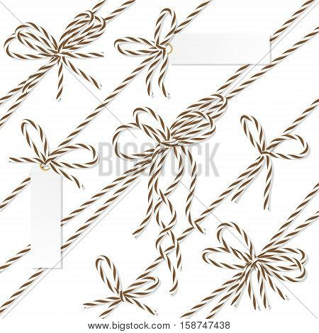 Set of brown rope bakers twine bows, ribbons and tag labels on white background