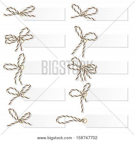 Set of tag labels with brown rope bakers twine bows on white background