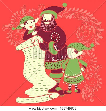 Vector design of Santa and Elf with gift in Merry Christmas Holiday celebration background