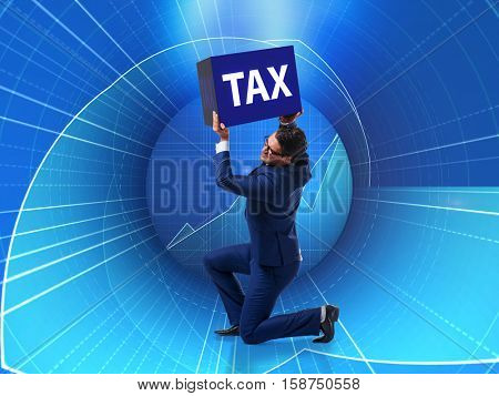 Man under the burden of tax payments