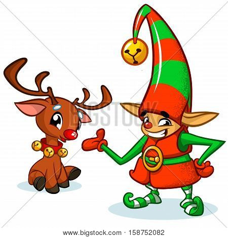 Christmas elf and his reindeer cartoon. Vector illustration