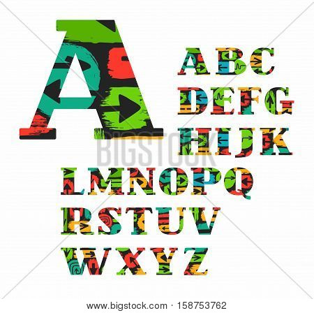 English alphabet, arrow, vector, font, color. Colored, uppercase letters of the English alphabet with the black arrow on coloured spots. Letters with serifs.