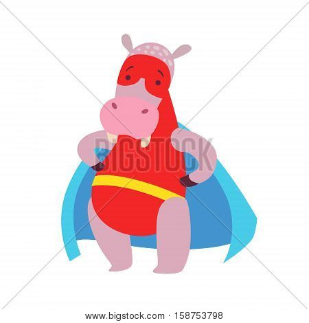Hippo Animal Dressed As Superhero With A Cape Comic Masked Vigilante Character. Part Of Fauna With Super Powers Flat Cartoon Vector Collection Of Illustrations.