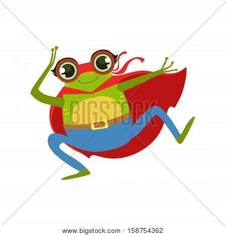Frog Animal Dressed As Superhero With A Cape Comic Masked Vigilante Character. Part Of Fauna With Super Powers Flat Cartoon Vector Collection Of Illustrations.