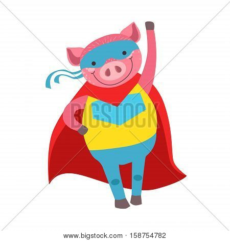 Pig Animal Dressed As Superhero With A Cape Comic Masked Vigilante Character. Part Of Fauna With Super Powers Flat Cartoon Vector Collection Of Illustrations.