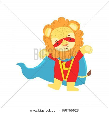 Lion Animal Dressed As Superhero With A Cape Comic Masked Vigilante Character. Part Of Fauna With Super Powers Flat Cartoon Vector Collection Of Illustrations.