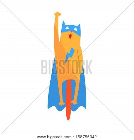 Cat Flying Animal Dressed As Superhero With A Cape Comic Masked Vigilante Geometric Character. Part Of Fauna With Super Powers Flat Cartoon Vector Collection Of Illustrations.